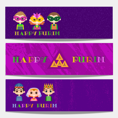 Happy Purim celebration. Horizontal banner set. Cartoon fancy letters. Comic kids in masquerade costumes. Holiday Carnival invitation. Fest greeting flyer. Vector decorative background illustration. Illustration