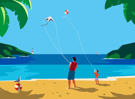 Kiting on sea beach. Leisure fun activity on sand seashore. Colorful cute cartoon. Adult father, small boy son enjoy with flying kites. Summer family vacation. Vector ocean seascape scenic background.