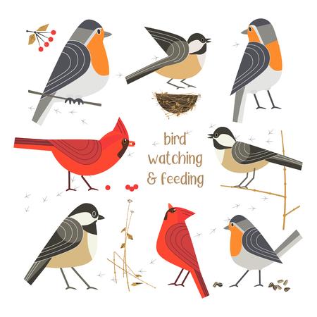 cartel de alimentación del pájaro Ilustración de vector