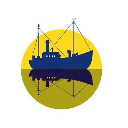 Commercial fishing trawler icon. Illustration