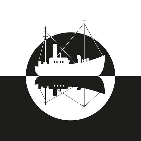 Commercial fishing trawler icon. Stock Illustratie