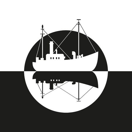 Commercial fishing trawler icon. 向量圖像