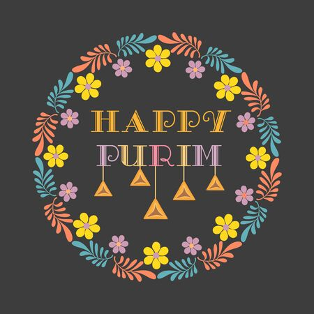 Happy Purim card with colorful lettering, Fancy letters, decorative floral cartoon round frame wreath.