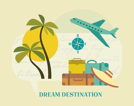 Time to travel icon set. Flat tourism trip symbol collection. Seashore relax recreation. Seaside leisure resort. Airplane flight to seashore advertisement banner background. Vector retro illustration