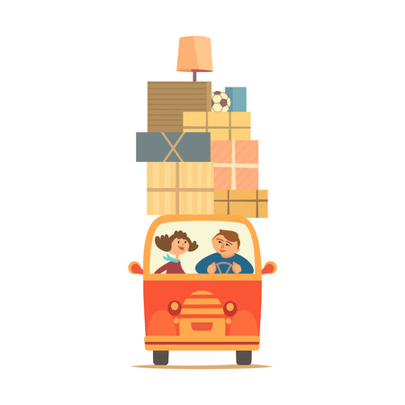 Young couple moving boxes by a vehicle vector Иллюстрация