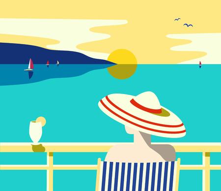 Paisaje costero de verano. Cartel de vista panorámica del océano azul. Dibujado a mano alzada estilo retro pop art.