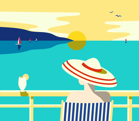 Summer seaside landscape. Blue ocean scenic view poster. Freehand drawn pop art retro style. Stock Illustratie