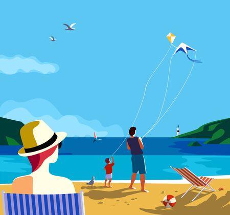 Kiting en la playa del mar. Actividad de ocio familiar en la costa de arena. Dibujos animados coloridos