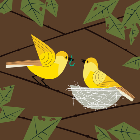 Cute birds couple poster. Comic flat cartoon. Minimalism simplicity design. Male bird is feeding by worm female sitting on eggs in straw nest on tree branch. Template vector birdwatching background  イラスト・ベクター素材