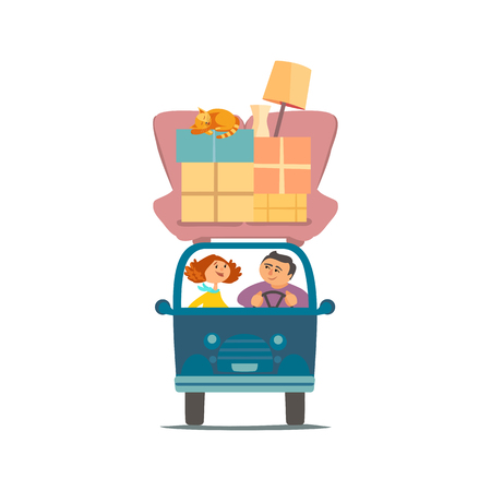 Young couple deliver moving boxes by vehicle. Vectores