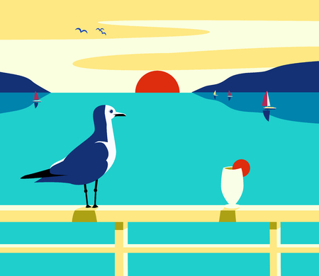 Blue ocean scenic view during sunset with birds and empty glass. Illustration
