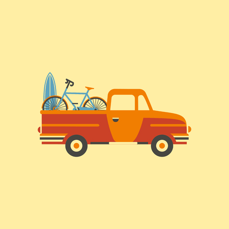 An orange pick up truck carrying a surfboard and a bicycle.