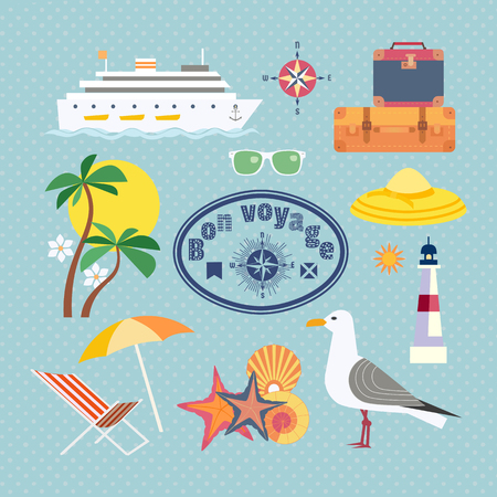 Ocean cruise travel icon set. Have nice trip - Bon Voyage in French. Fancy colorful cartoon seaside symbols. Vintage marine tour advertisement banner background. Vector seashore retro illustration Иллюстрация