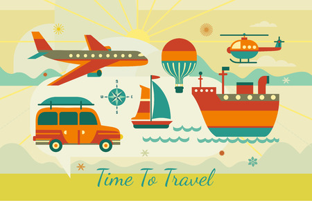 Time to travel icons. Flat tourism trip symbol collection. Ocean liner, yacht sea sailing. Airplane flight. Helicopter offroad vehicle adventure banner background.