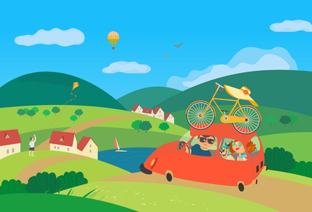 Travel by car concept. Young happy couple with dog drive car by rural road to village community for leisure activity. Touring vehicle trip. Cute fancy cartoon colordul background. Vector illustration Иллюстрация