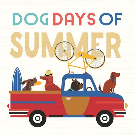 冒险的时候了。可爱的卡通漫画。多彩幽默复古风格。狗狗们乘公共汽车去海滩玩,休闲放松。三伏天的暑假旅行。矢量旅游旗帜背景模板