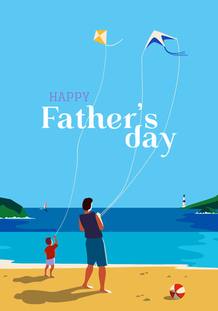 Happy father and son enjoy kiting on sea beach. Father's day poster. Family leisure fun activity on sand seashore. Colorful cartoon. Dad and kid boy together. Vector ocean seascape scenic background Illustration