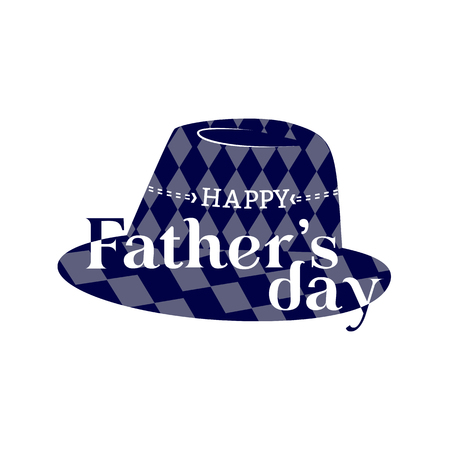 Happy Fathers day concept. Flat minimal simple style. Greeting text in fedora hipster hat icon. Dad holiday card background. Male fest party celebration design. Vector web banner, sticker template