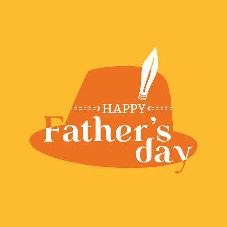 Happy Fathers day concept. Flat minimal simple style. Greeting text in fedora hipster hat icon. Dad holiday card background. Men fest party celebration design. Vector web banner, sticker template