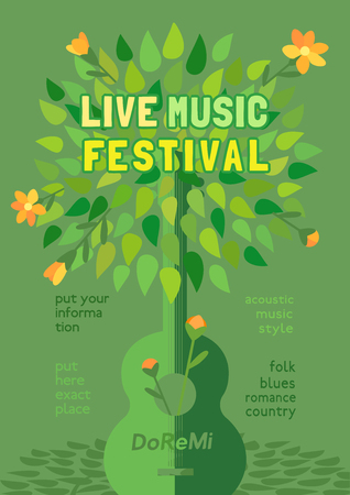Template Design Poster with acoustic guitar silhouette summer green leaves. Design idea Live Music Festival show promotion advertisement. Seasonal event background vector vintage illustration A4 size