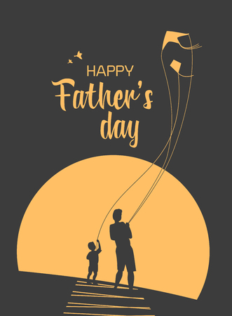 Happy father and son enjoy kiting. Father's day poster. Flat minimal simple style. Family leisure fun activity on nature. Dad and kid boy together. Holiday flyer banner background. Vector illustration Illustration