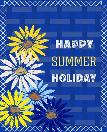 Happy Midsummer card with flowers design. Illustration