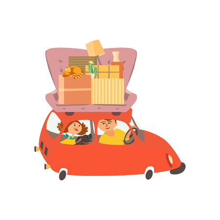 Moving to new house vector illustration. Banque d'images - 101119279