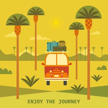 Time to travel poster vector illustration.