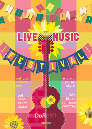Template Design Poster with acoustic guitar silhouette summer flowers. Design idea for Live Music Festival show promotion advertisement. Seasonal event background vector vintage illustration A4 size
