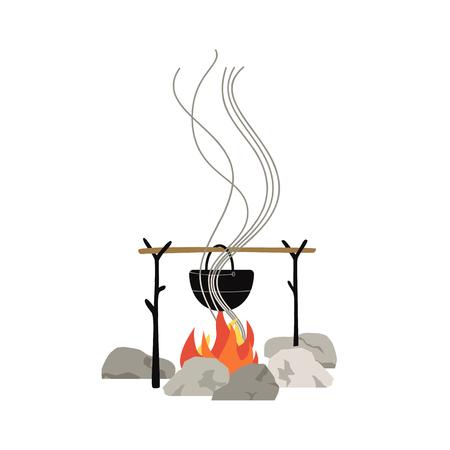 Icône de cuisson repas feu de camp isolé sur blanc. Dessin animé plat minimal. Eau chaude dans une bouilloire touristique en métal accrochée au feu de camp. Symbole de camping d'aventure. Fond de bannière de tourisme. Illustration vectorielle Vecteurs