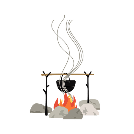 Campfire meal cooking icon isolated on white. Minimal flat cartoon. Hot water in metal tourist kettle hanging on camp fire. Adventure camping symbol. Tourism banner background. Vector illustration Illustration