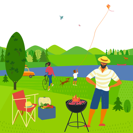 Family barbecue picnic. Summer outdoors concept. Cartoon colorful poster. Season holiday leisure banner background. Mountain valley, lake, green hills. Weekend BBQ of father, mother, son on nature
