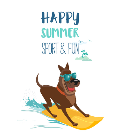 Summer fun sport concept. Dog surfing at beach. Domestic pet on surfboard. Colorful comic cartoon. Adventure activity on Dogs days of summer. Canine puppy surf boarding training. Vacation illustration