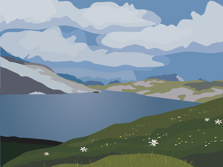 Mountain green valley landscape. Summer season lake scenic view poster. Clouds on river bank in Alps mountains. Freehand cartoon outdoors style. Wild nature scene banner background vector illustration