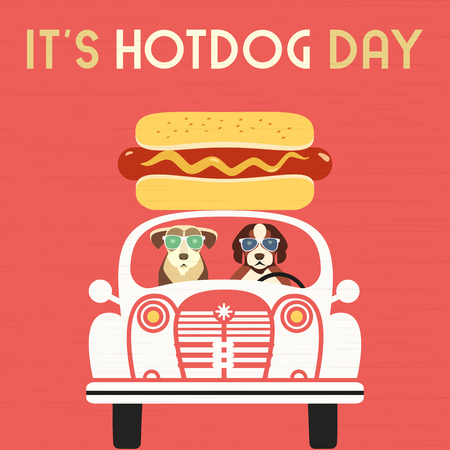 Hot dog day greeting card. Cute cartoon dogs, grilled sausage in bun. Cooked wiener, mustard. July National holiday celebration. Template for food summer festival event background. Vector illustration