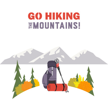 Hiking equipment icon. Go on a hike slogan. Time hiking the mountains design element in retro color. Adventure journey symbols, backpack, trekking poles. Tourist banner background. Vector illustration