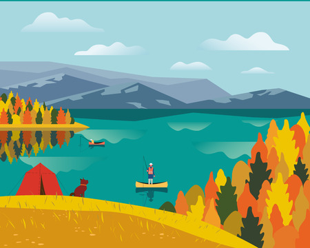 Autumn nature landscape. Colorful cartoon. Fall season leisure banner background. Fishermen on calm river water, dog on yellow autumn hill. Alps mountain valley lake view. Outdoors vector Illustration