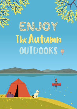 Autumn nature landscape. Colorful cartoon retro style. Autumnal yellow Fall season leisure banner background. Fisherman on calm river water. Alps mountain valley lake view. Outdoor vector Illustration