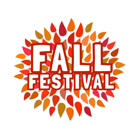 Fall Festival Concept. Typography Poster. Fancy Letters, Colorful Autumnal  Leaves Isolated On White
