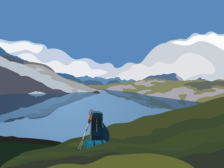 Mountains panorama landscape. Mountain green valley lake scenic view cartoon. Mounts silhouette range. Adventure journey backpack, trekking poles. Tourist trip banner background. Vector illustration