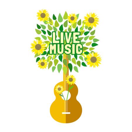 Template for musical poster, emblem, logo. Acoustic guitar silhouette. Colorful icon design. Live Music Festival show promotion advertisement. Seasonal event background vector vintage illustration Illustration