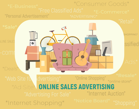 Online store sales icon. Internet shopping e-commerce at website concept. Free classified ads for comsumer goods. Retail advertising board e-business. Notice message for personal things sale, resale