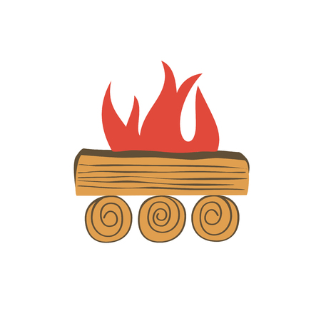 Bonfire icon isolated. Cartoon minimal style. Base camp fire wood logs burning in flame isolated on white. Outdoor campsite sign. Outdoor fire emblem. Vector template for camping banner background Illustration