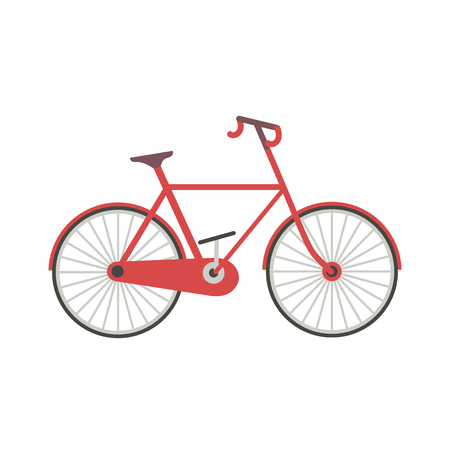 Travel transport icon. New bicycle isolated on white background. Active lifestyle sport cycling eqipment. Red bike minimal cartoon. Pedal road cycle riding design. Biking transportation vector sign