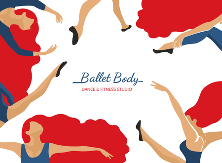 Dance poster concept. Ballet Body studio flyer design template. Pop art style character. Fitness class horizontal banner background. Sign symbol abstract ballerina in dancing pose. Vector illustration