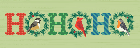 Christmas Holiday decoration. Cute winter bullfinch robin red cardinal bird, in xmas wreath. Fancy letters text Ho-Ho-Ho colorful cartoon. Template for New year season event banner, greeting flyer