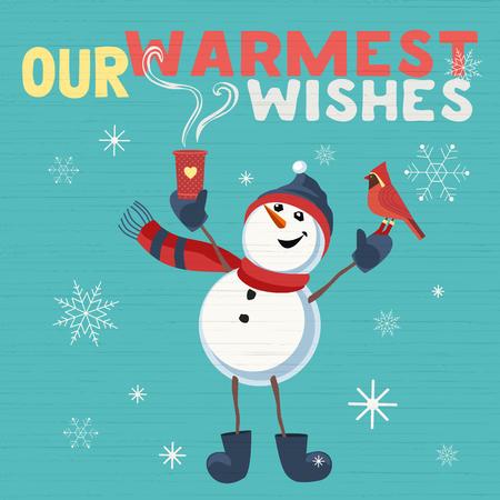 Fancy seasonal poster. Cartoon playful fun snowman, red cardinal bird. Merry Christmas winter season greeting card wish. Holiday seasonal cute flyer background. New Year eve party vector illustration