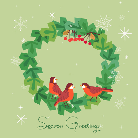 Fancy seasonal poster. Cartoon playful fun red birds in christmas tree wreath. Template for Merry Christmas winter season greeting card. Holiday decoration background. New Year eve vector illustration Vettoriali