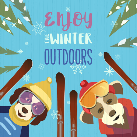 Season motivation quote Enjoy winter outdoors.. Cute comic dogs in sport hats, glasses with mountain skies. Colorful playful cartoon. Funny skiers. Leisure activity on naiture vector illustration