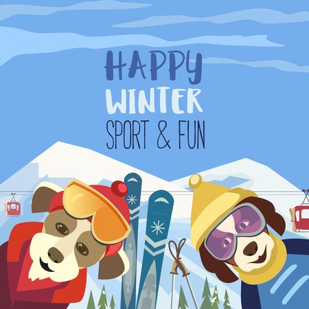 Season motivation quote Enjoy winter outdoors.. Cute comic dogs in sport hats, glasses with mountain skies. Colorful playful cartoon. Funny skiers. Leisure activity on nature vector illustration